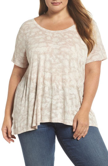 Lucky Brand Floral Print Top In Natural Multi