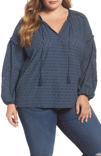 Lucky Brand Crochet-inset Peasant Top In Blue Multi