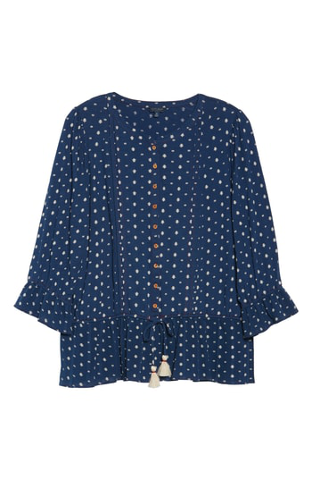 Lucky Brand Prairie Peplum Top In Navy Multi