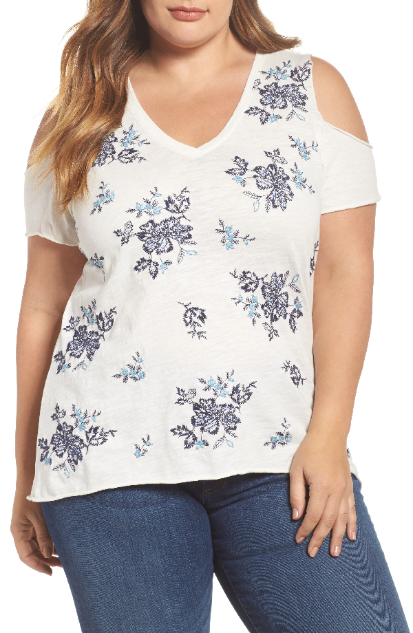 Lucky Brand Cotton Embroidered Cold-shoulder T-shirt, Created For Macy's In Blue Multi