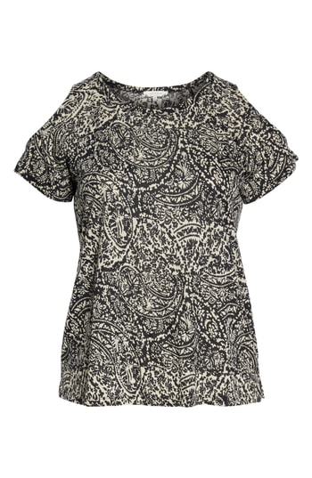 Lucky Brand Paisley Print Cold Shoulder Tee In Black Multi