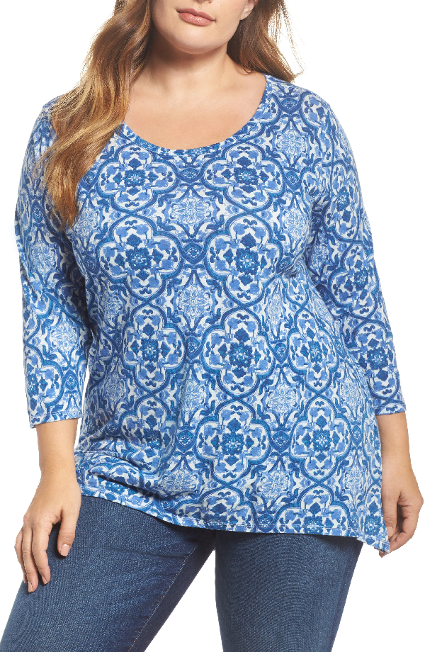 Lucky Brand Trendy Plus Size Cotton 3/4-sleeve T-shirt In Blue Multi