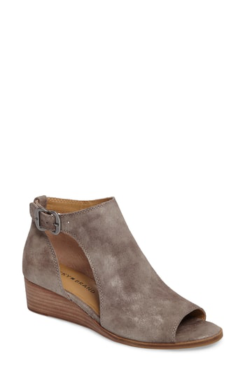 Lucky Brand Rixanne Cutout Bootie In Taupe Suede