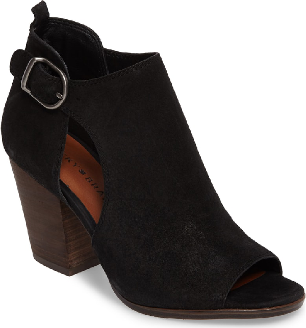 Lucky Brand Oona Open Side Bootie In Black Leather