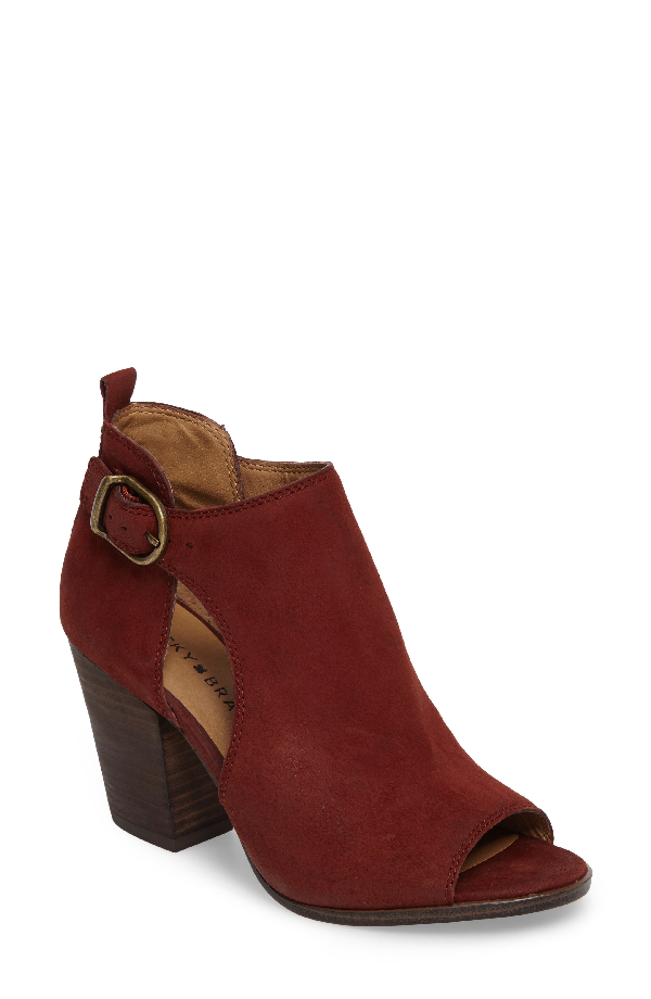Lucky Brand Oona Open Side Bootie In Sable Leather