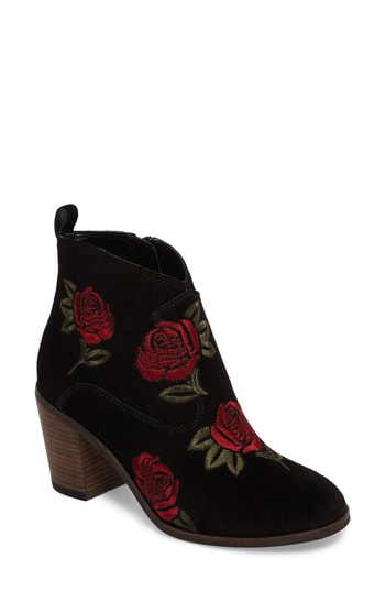 Lucky Brand Pexton Embroidered Bootie In Black/ Rose Suede