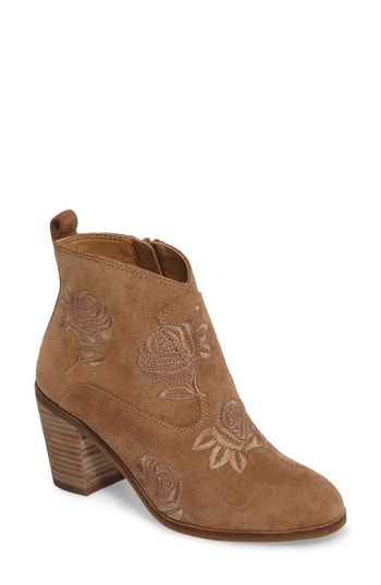 Lucky Brand Pexton Embroidered Bootie In Sesame Suede