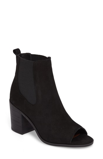 Lucky Brand Kassidy Open Toe Chelsea Bootie In Black Leather