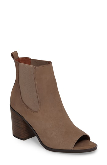 Lucky Brand Kassidy Open Toe Chelsea Bootie In Brindle Leather