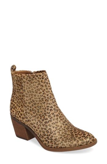 Lucky Brand Women's Natania Block-heel Booties Women's Shoes In Mini Metallic Leather