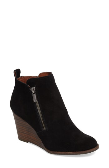 Lucky Brand Yesterr Wedge Bootie In Black Suede