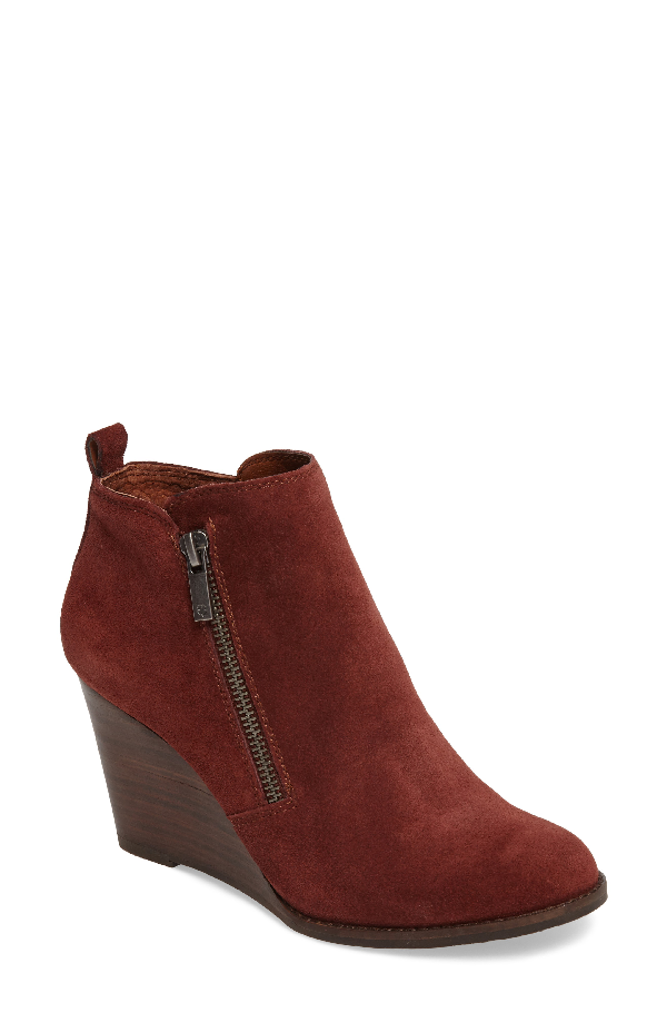 Lucky Brand Yesterr Wedge Bootie In Sable Suede