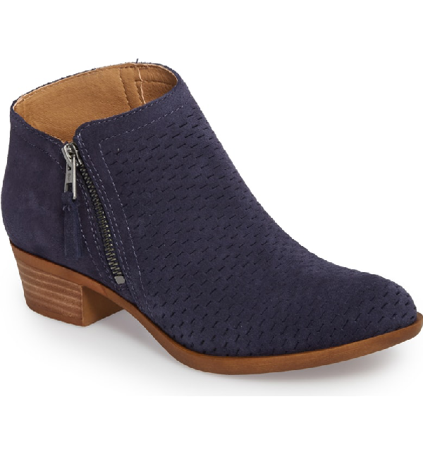 Lucky Brand Brielley Perforated Bootie In Moroccan Blue Suede