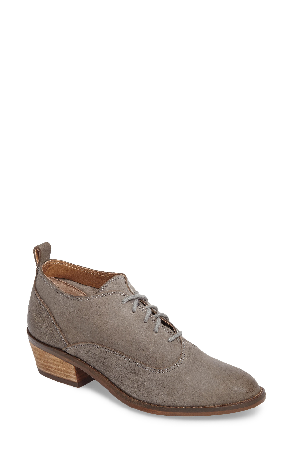 Lucky Brand Fantine Lace-up Bootie In Steel Grey Leather