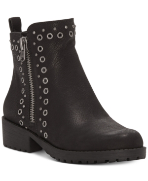 Lucky Brand Hannie Grommet-studded Booties Women's Shoes In Black