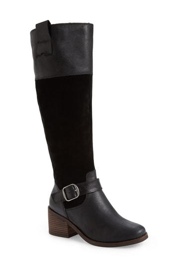 Lucky Brand Women's Kailan Riding Boots Women's Shoes In Black Leather