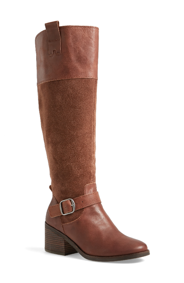Lucky Brand Kailan Ankle Strap Tall Boot In Tobacco Leather