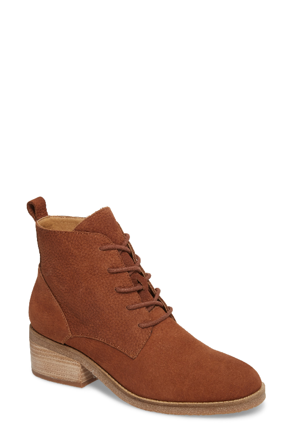 Lucky Brand Tamela Lace-up Booties Women's Shoes In Toffee Nubuck