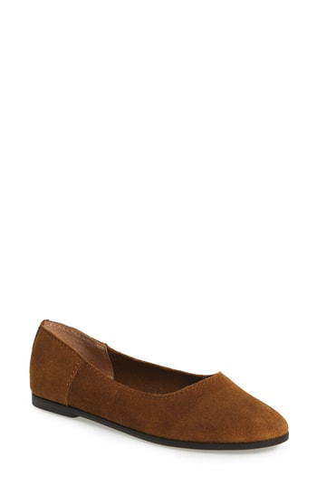 Lucky Brand Calandra Flat In Tapenade Suede
