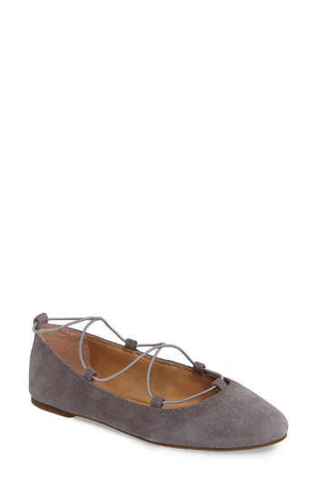 Lucky Brand 'aviee' Lace-up Flat In Steel Grey Suede