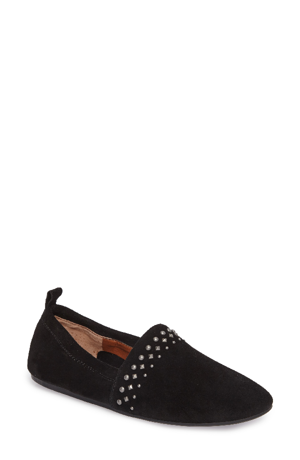 Lucky Brand Baako Studded Flat In Black Suede