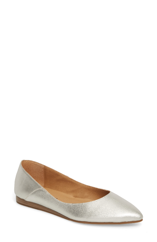 Lucky Brand Bylando Flat In Nickel Leather