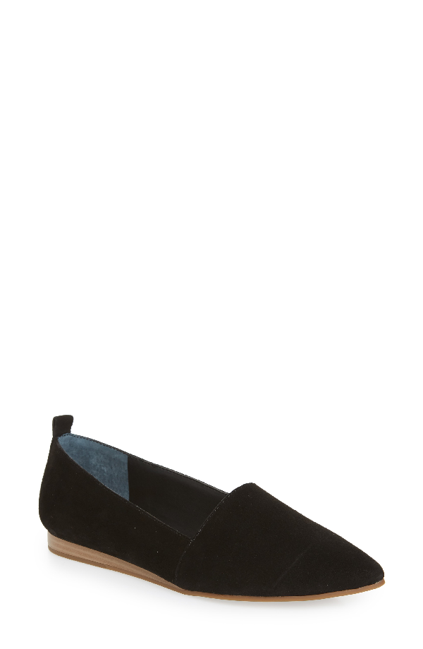 Lucky Brand Beechmer Pointy Toe Flat In Black Suede