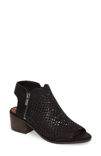 Lucky Brand Nelwyna Perforated Bootie Sandal In Black Leather