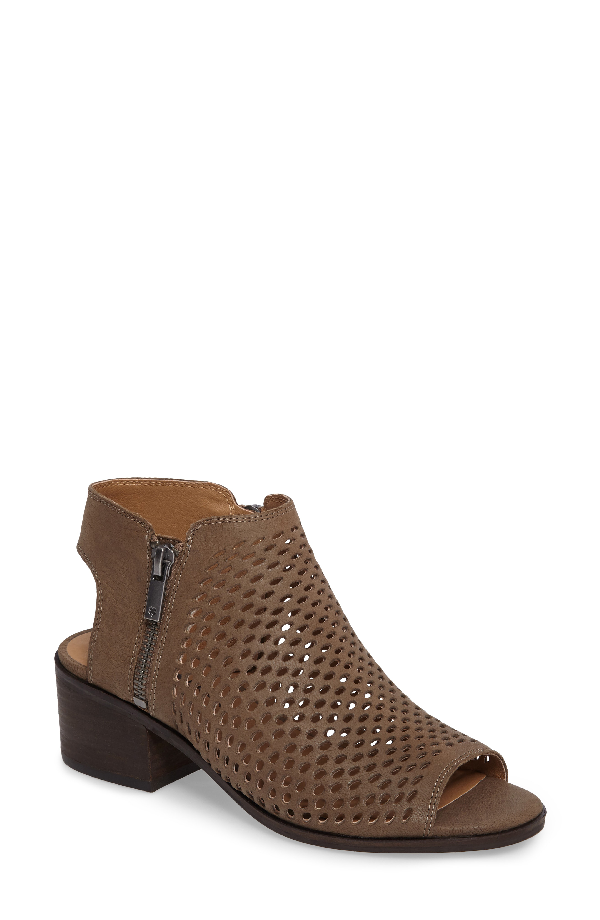 Lucky Brand Nelwyna Perforated Bootie Sandal In Brindle Leather