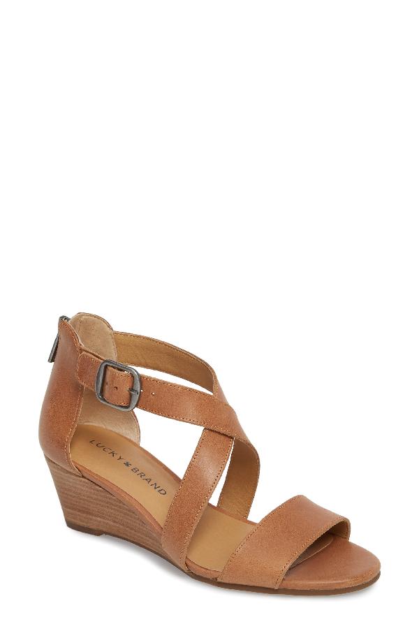 Lucky Brand Jestah Wedge Sandal In Dark Camel Leather