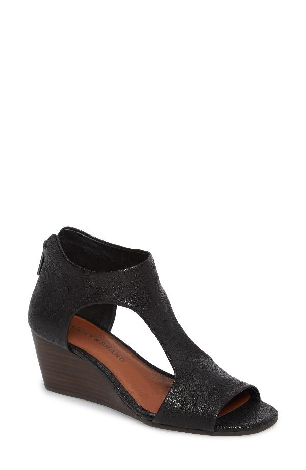 Lucky Brand Tehirr Wedge Sandal In Black Leather
