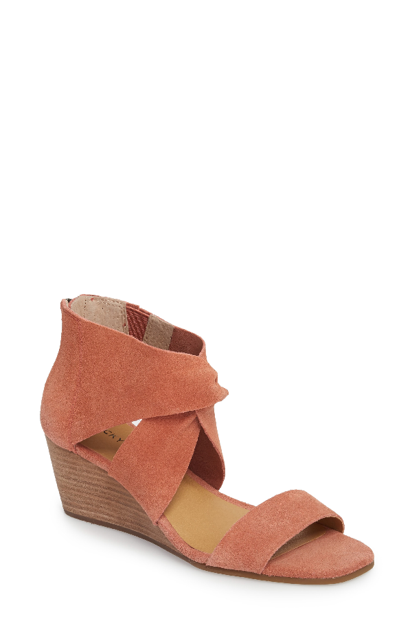 Lucky Brand Tammanee Wedge Sandal In Canyon Rose Suede