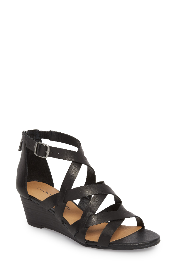 Lucky Brand Jewelia Wedge Sandal In Black Leather