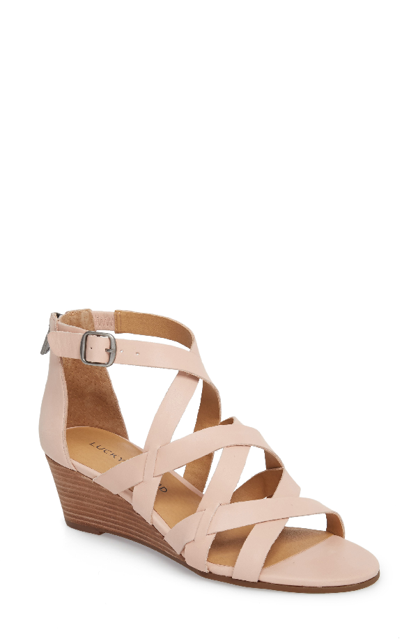 Lucky Brand Jewelia Wedge Sandal In Misty Rose Leather