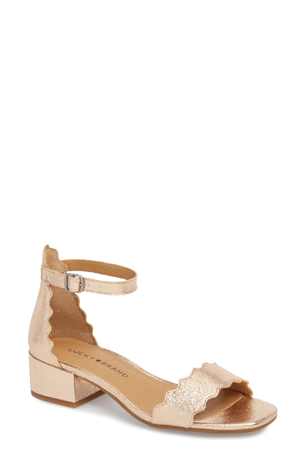 Lucky Brand Norreys Sandal In Pale Rose Gold Leather