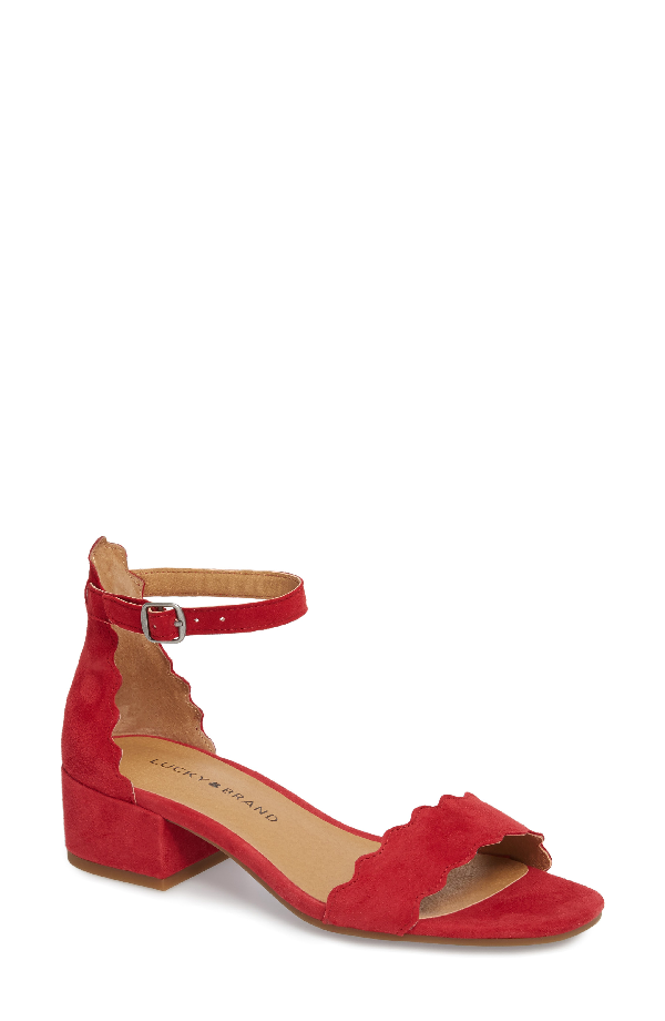 Lucky Brand Norreys Sandal In Red Suede