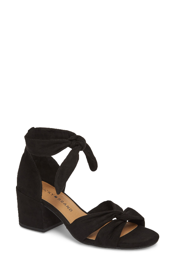Lucky Brand Xaylah Ankle Strap Sandal In Black Leather