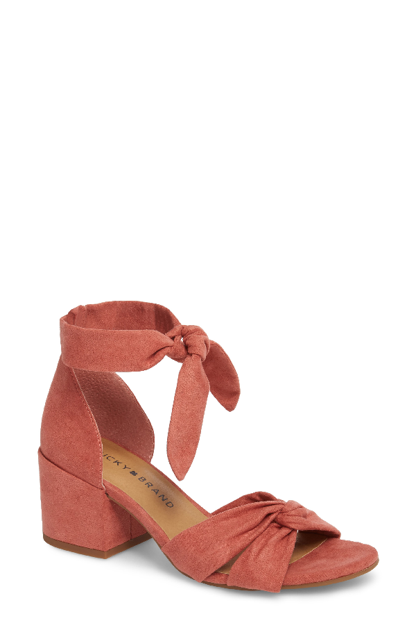 Lucky Brand Xaylah Ankle Strap Sandal In Canyon Rose Leather