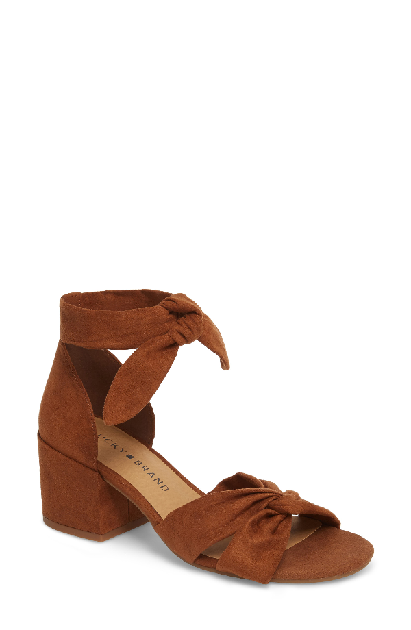 Lucky Brand Xaylah Ankle Strap Sandal In Cedar Leather