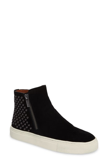 Lucky Brand Bayleah High Top Sneaker In Black Suede