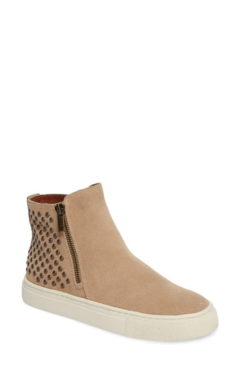 Lucky Brand Bayleah High Top Sneaker In Travertine Suede