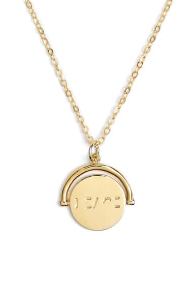 Lulu Dk Love Love Code Charm Necklace In Peace/ Gold