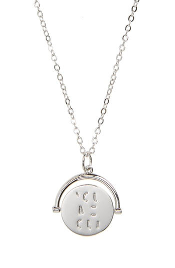 Lulu Dk You Me Oui Love Code Charm Necklace In You Me Oui/ Silver