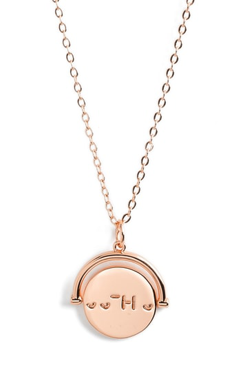 Lulu Dk Love Code Spinning Pendant Necklace In Sisters/rose Gold