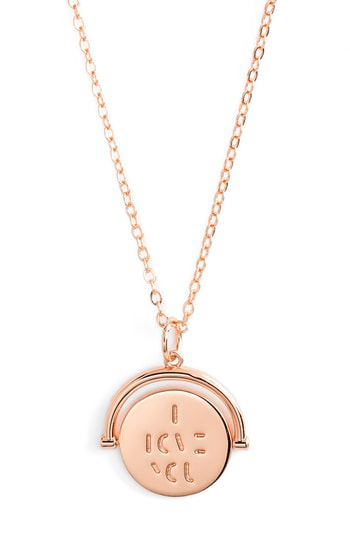 Lulu Dk Love Code Spinning Pendant Necklace In I/rose Gold