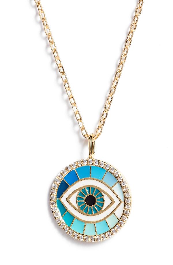 Lulu Dk Reversible Enamel Pendant Necklace In Evil Eye/ Gold