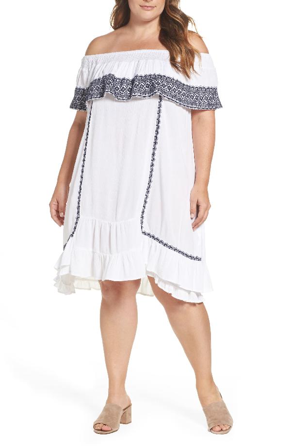 e2b6616d09 Muche Et Muchette Gavin Ruffle Cover-Up Dress In White/ Navy   ModeSens