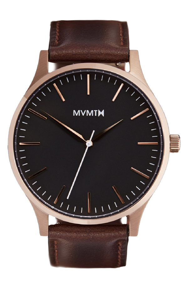 Mvmt Leather Strap Watch, 40mm In Brown/ Rose Gold/ Black