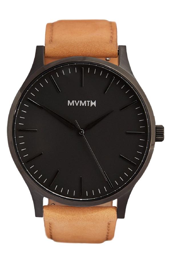 Mvmt Leather Strap Watch, 40mm In Tan/ Black