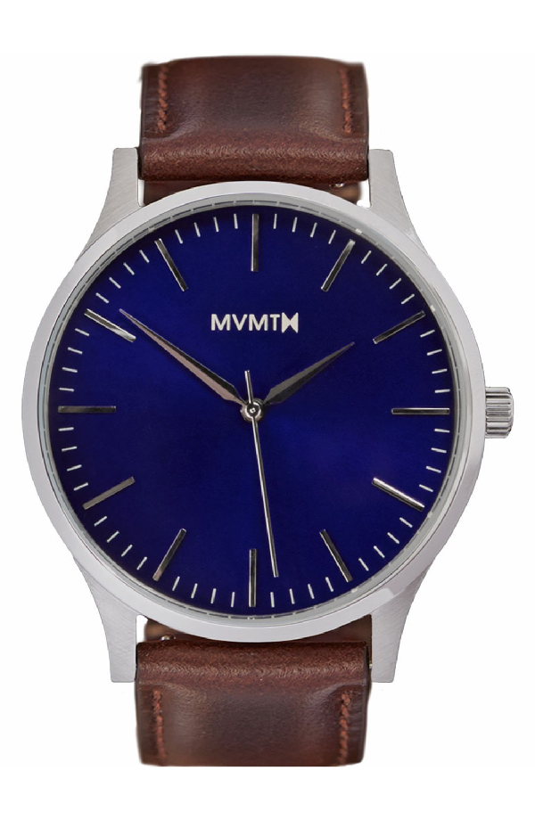 Mvmt Leather Strap Watch, 40mm In Brown/ Silver/ Blue